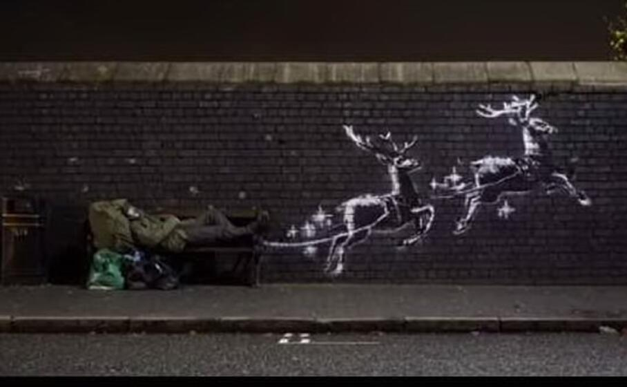 Il commovente murales natalizio di Banksy in un video virale