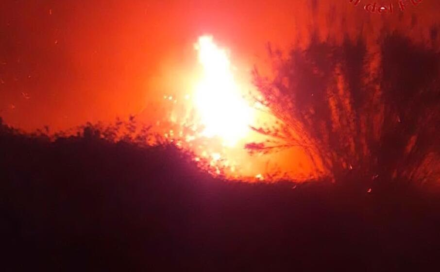 l incendio a bari sardo (foto vigili del fuoco)