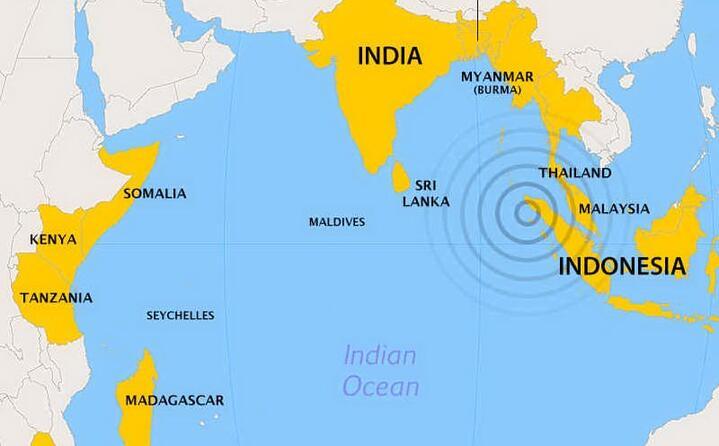 i paesi direttamente colpiti dallo tsunami nell oceano indiano (foto wikipedia e l unione sarda)