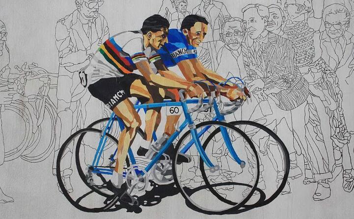 murale a castellania che ritrae il campione insieme al fratello serse (foto wikipedia)