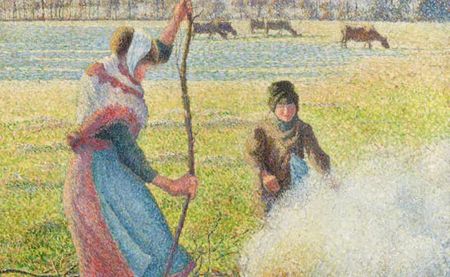particolare dell opera di pissarro gel e blanche jeune paysanne faisant du feu (foto da google)