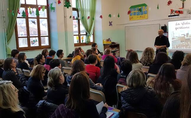 la conferenza educativa con lorenzo braina ieri a gonnesa (foto antonella pani)