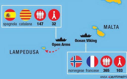 Le due navi Ong in mare (Ansa-Centimetri)