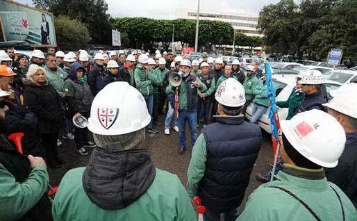 Una manifestazione dei lavoratori Eurallumina (Archivio L'Unione Sarda)