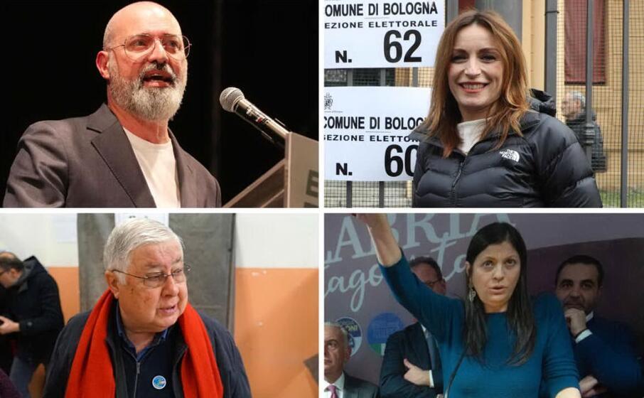 in alto da sinistra bonaccini e borgonzoni candidati in emilia romagna sotto callipo e santelli candidati in calabria