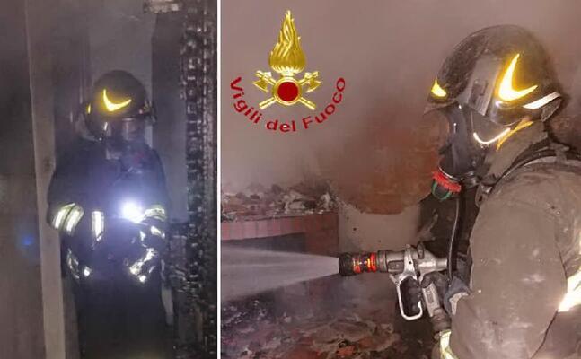l intervento dei pompieri (foto vigili del fuoco)