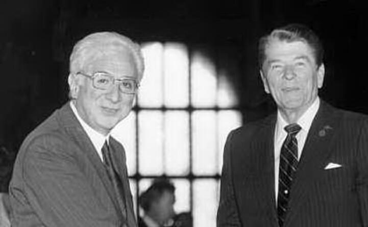 francesco cossiga e il presidente usa ronald reagan nel 1987