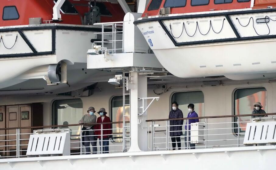 passeggeri su un ponte esterno