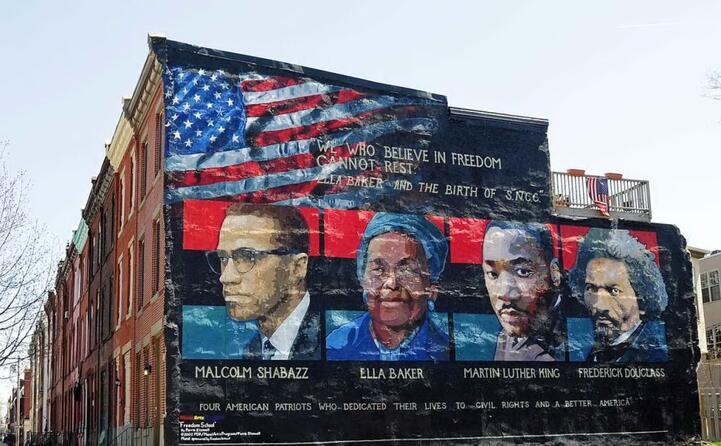 un murale che rappresenta malcolm x a philadelphia (foto wikipedia)
