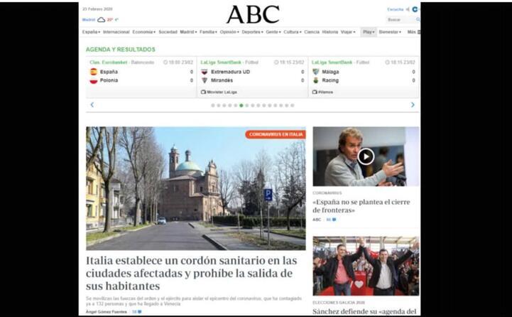 il cordone sanitario imposto alle citt focolaio la notizia di apertura sul sito di informazione spagnolo abc