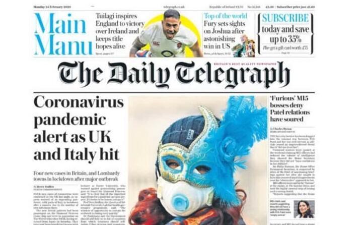 il daily telegraph si concentra sulla diffusione del virus arrivato anche nel regno unito dopo che in italia