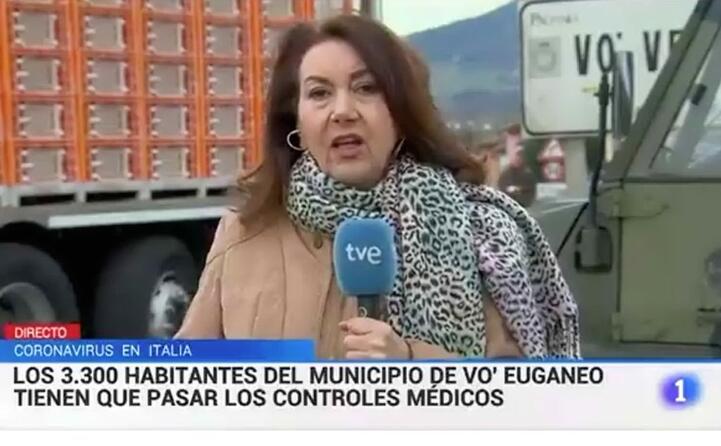 l inviata della spagnola tve si trova direttamente nei comuni veneti colpiti dall epidemia 3 300 abitanti sotto controllo medico