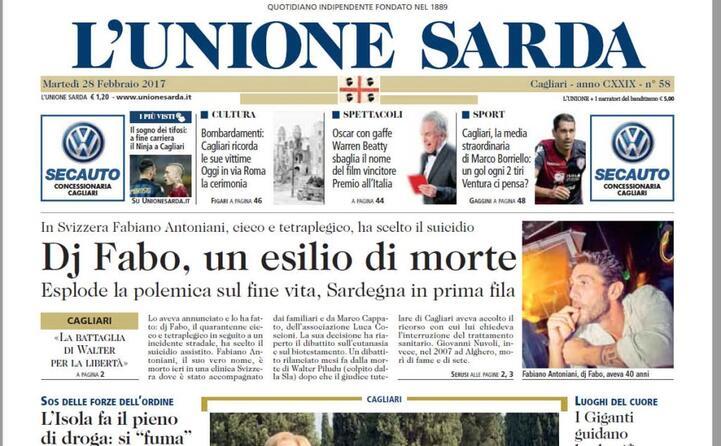 la notizia sul l unione sarda