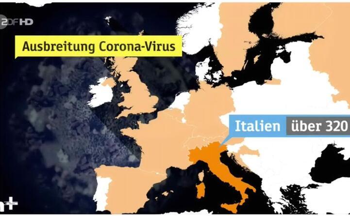 la zdf la tv nazionale tedesca evidenzia l italia nella mappa della diffusione del coronavirus