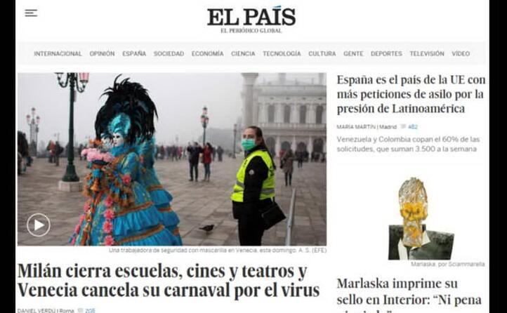 milano chiude scuole cinema e treatri e venezia cancella il suo carnevale per il virus l apertura del quotidiano spagnolo el pa s