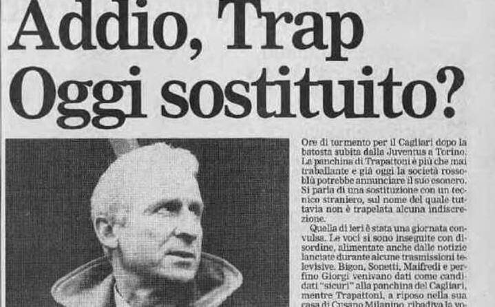 breve la sua parentesi al cagliari (l articolo de l unione sarda dedicato al suo addio il 14 febbraio 1996)