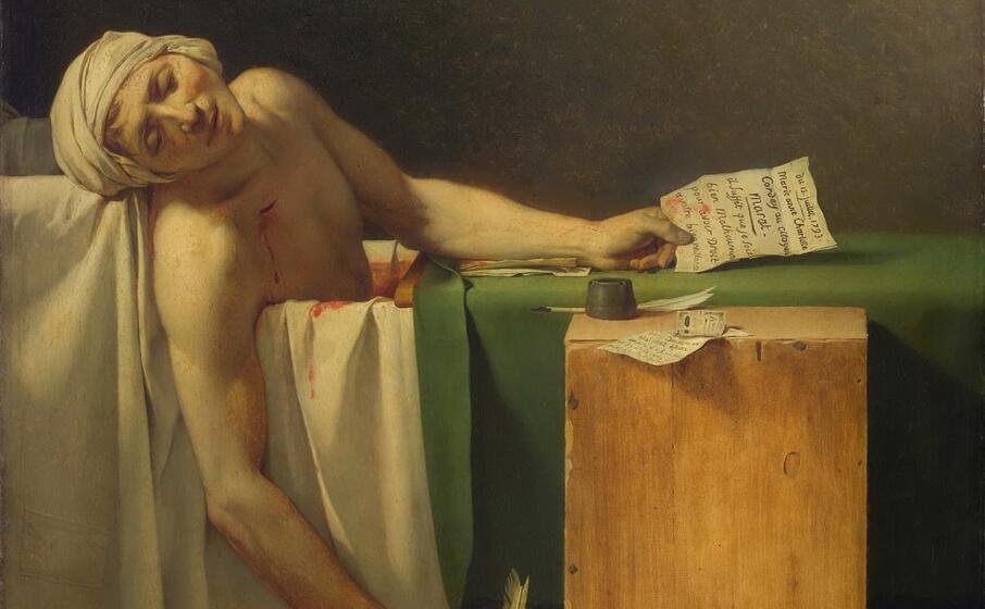 la morte di marat dipinto di jacques louis david conservato nel mus es des beaux arts di bruxelles (foto marcello cocco)