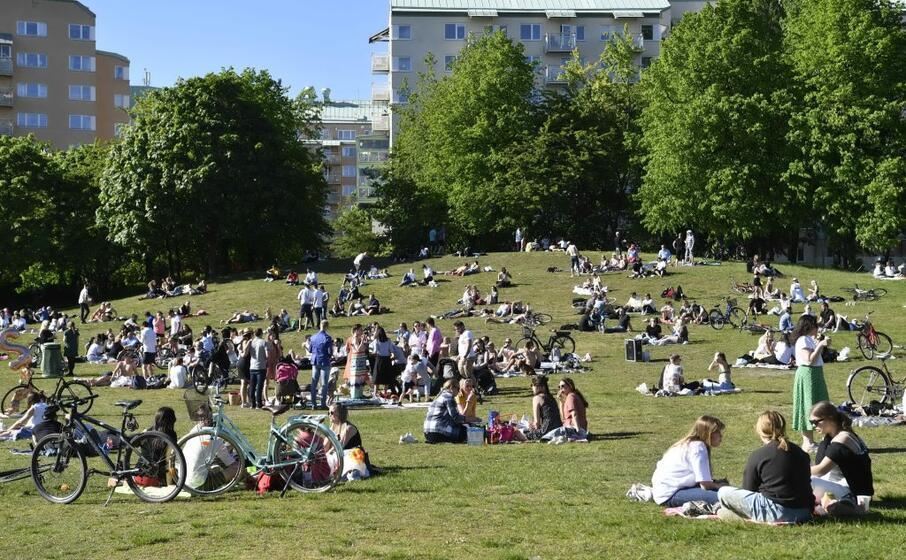un parco affollato in svezia (ansa)