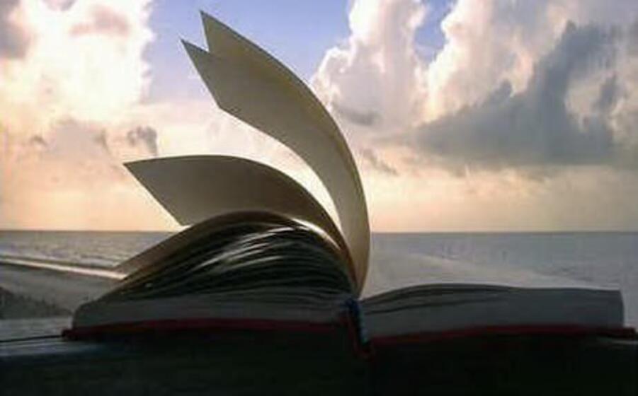 un libro sullo sfondo del mare