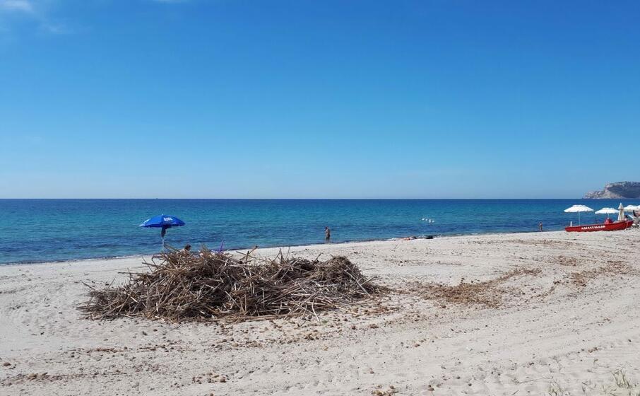 uno dei cumuli rimasti in spiaggia (l unione sarda daga)