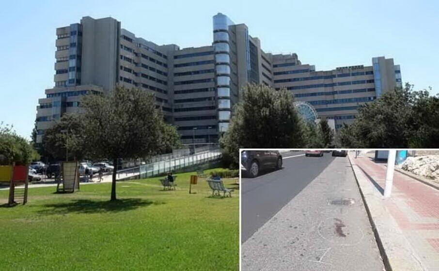 l ospedale brotzu dove la donna era ricoverata e nel riquadro il luogo dell incidente (archivio l unione sarda)