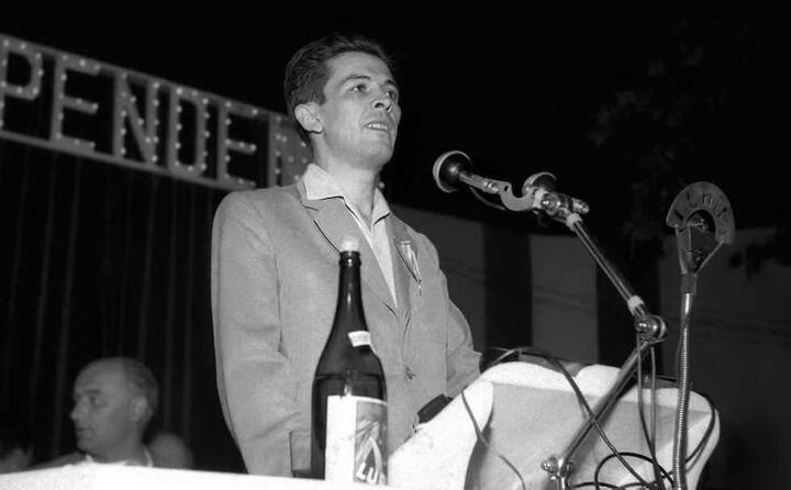 durante un comizio a torino nel 1952