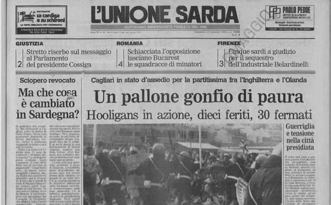la prima pagina de l unione sarda del 17 giugno 1990 (foto piras)