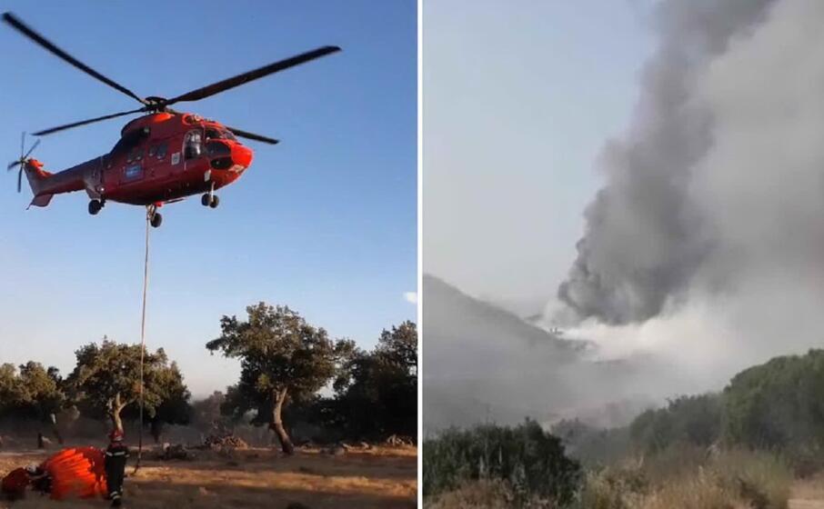 due foto degli incendi di oggi diffuse dal corpo forestale