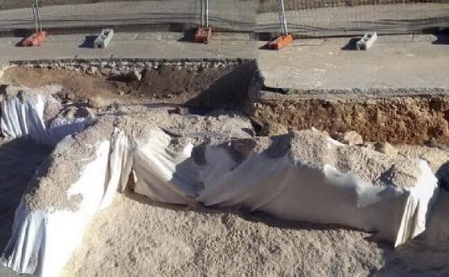 l area archeologica ricoperta (foto l unione sarda pala)