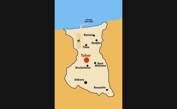 la localizzazione del porto di djen djen teatro della strage (foto l unione sarda e wikipedia)