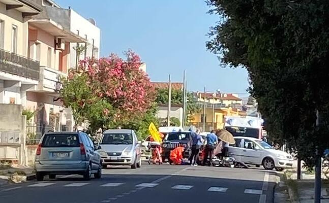 l incidente in via piemonte (foto l unione sarda sirigu)
