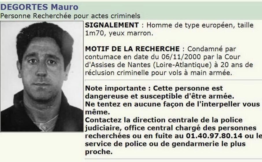 l avviso di ricerca diramato in francia (archivio l unione sarda)