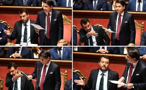 Quattro immagini dell'intervento di Conte al Senato, con le reazioni di Matteo Salvini (Ansa)