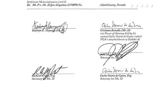 La firma di Cristiano Ronaldo sul documento (Il pdf del contratto pubblicato da Der Spiegel)