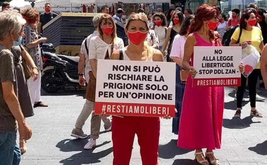 una delle proteste nelle piazze italiane (foto twitter sentinelle in piedi)