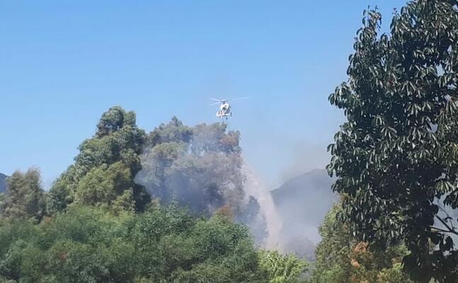 elicottero della forestale in azione a gonnesa (foto a pani)