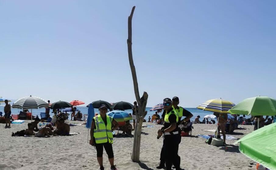 il grosso ramo piantato in spiaggia (foto polizia municipale)
