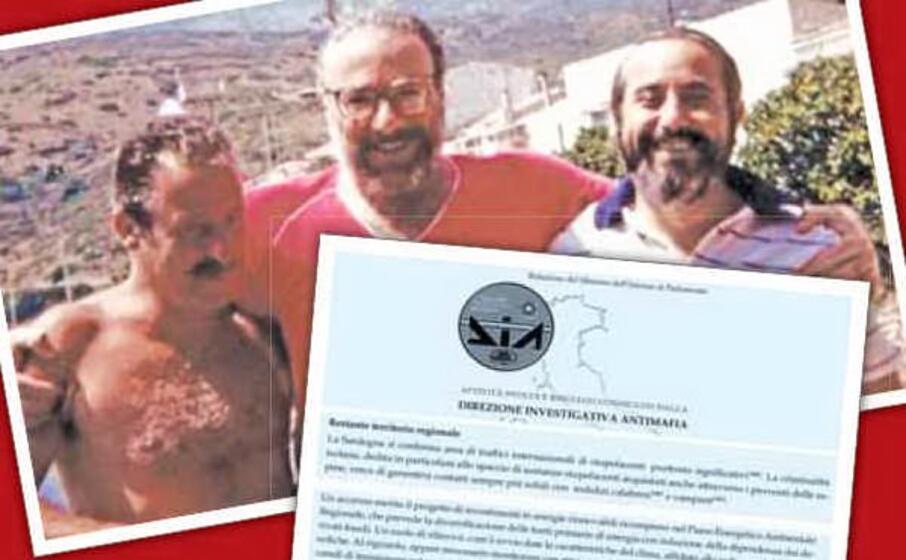 da sinistra borsellino lo curto e falcone nel riquadro la relazione 2019 della dia sulle infiltrazioni in sardegna (foto l unione sarda)