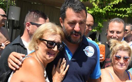 Matteo Salvini a Taormina (Ansa)