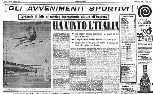 La pagina sportiva de L'Unione Sarda il 3 giugno 1960 (Archivio L'Unione Sarda)