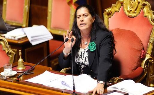 Rosi Mauro presidente di turno in Senato (Ansa)