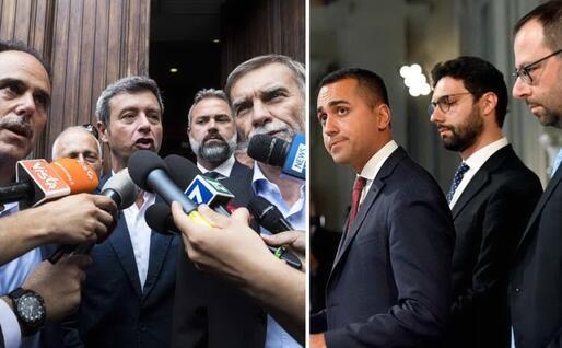 A sinistra, la delegazione Pd. A destra D'Uva e Patuanelli con Di Maio (Ansa)
