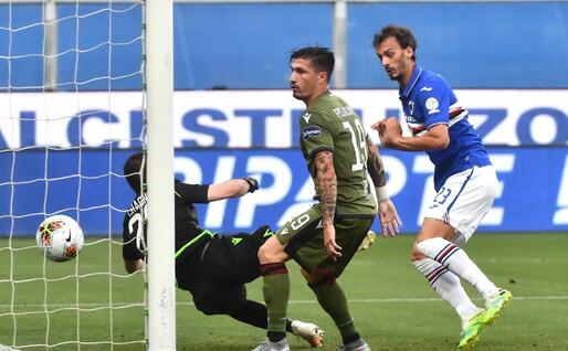 Il gol di Gabbiadini (Ansa)