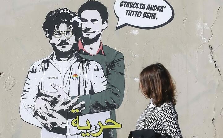 con patrick zaki in un murale di laika (tutte le foto sono archivio l unione sarda)