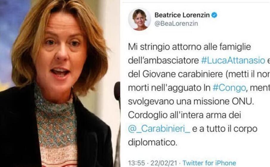 beatrice lorenzin (archivio l unione sarda) e il tweet (dai social)