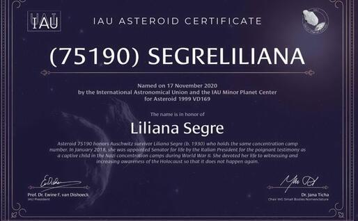 Il certificato che attesta l'intitolazione (foto @IAU)