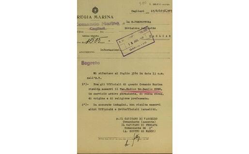 Il documento scovato dal Memoriale Sardo della Shoah di Cagliari (foto concessa)
