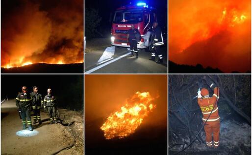 Le foto della notte di fuoco tra Arbus e Gonnosfanadiga (Gianluigi Deidda)