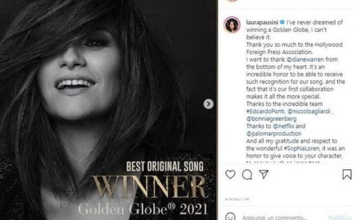 laura pausini trionfa ai golden globes 2021