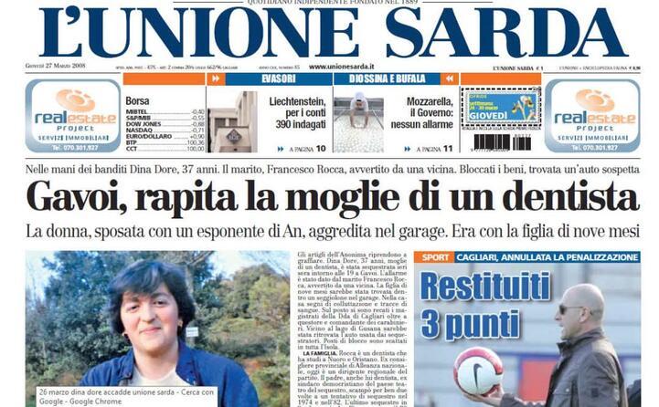 la prima pagina de l unione sarda